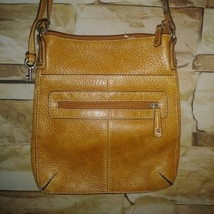 Caramel Pebble leather Fossil crossbody bag